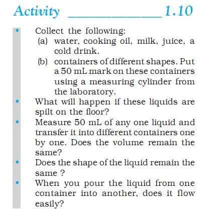 activity 1.10 class 9 science