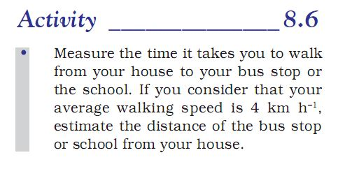 Activity 8.6 Class 9 Science Chapter 8 Motion