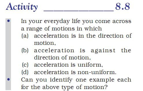 Activity 8.8 Class 9 Science Chapter 8 Motion
